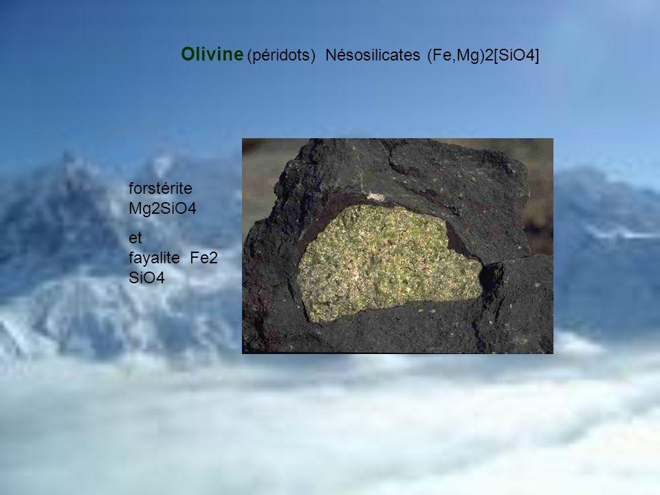 Olivine (péridots) Nésosilicates (Fe,Mg)2[SiO4]